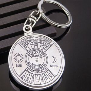 Perpetual-Calendar-Keyring-Keychain-Unique-Metal-Key-Chain-50-Years-Great-Gift