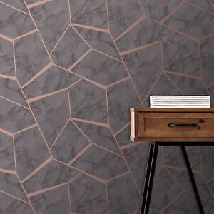 Fractal-Geometrique-Marbre-Peint-Charbon-Cuivre-Fine-Decor-FD42266-Metallique
