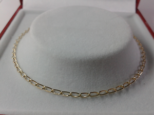 10 inch. Hallmarked 9ct Gold Ladies Solid Curb Link Anklet