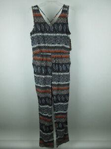 Vintage-USA-NEW-Women-039-s-sz-L-Polyester-Aztec-Paisley-Multi-Color-Jumpsuit