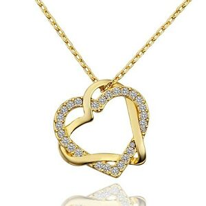 New-18K-Gold-Filled-Women-039-s-Love-Heart-Pendant-Necklace-With-Swarovski-Crystal
