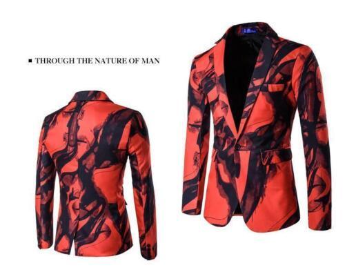 Mens Floral Lapel One button Blazer Suit Coat Jacket Casual Nightclub Jackets