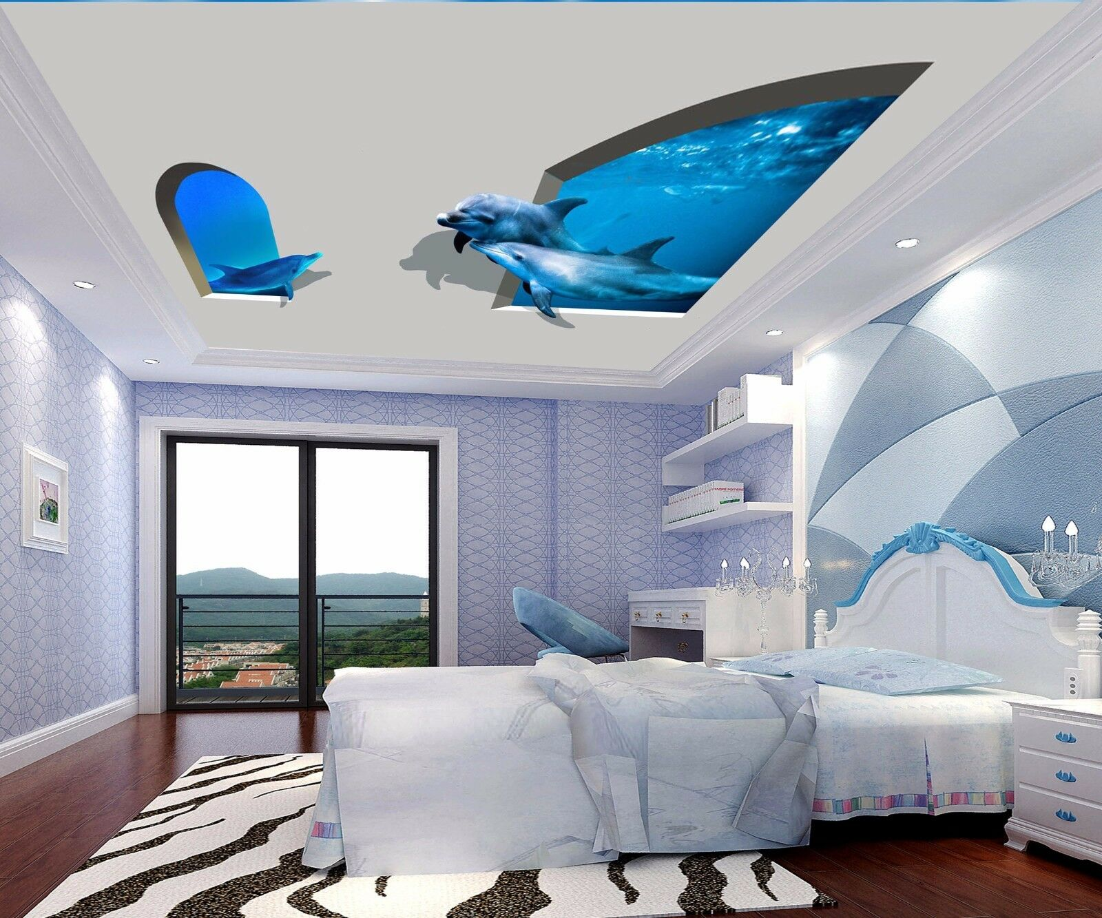 3D Sea Dolphin Ceiling WallPaper Murals Wall Print Decal Deco AJ WALLPAPER AU