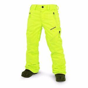 2017-NWT-BOYS-VOLCOM-CASSIAR-INSULATED-SNOWBOARD-PANTS-M-tennis-ball-bright