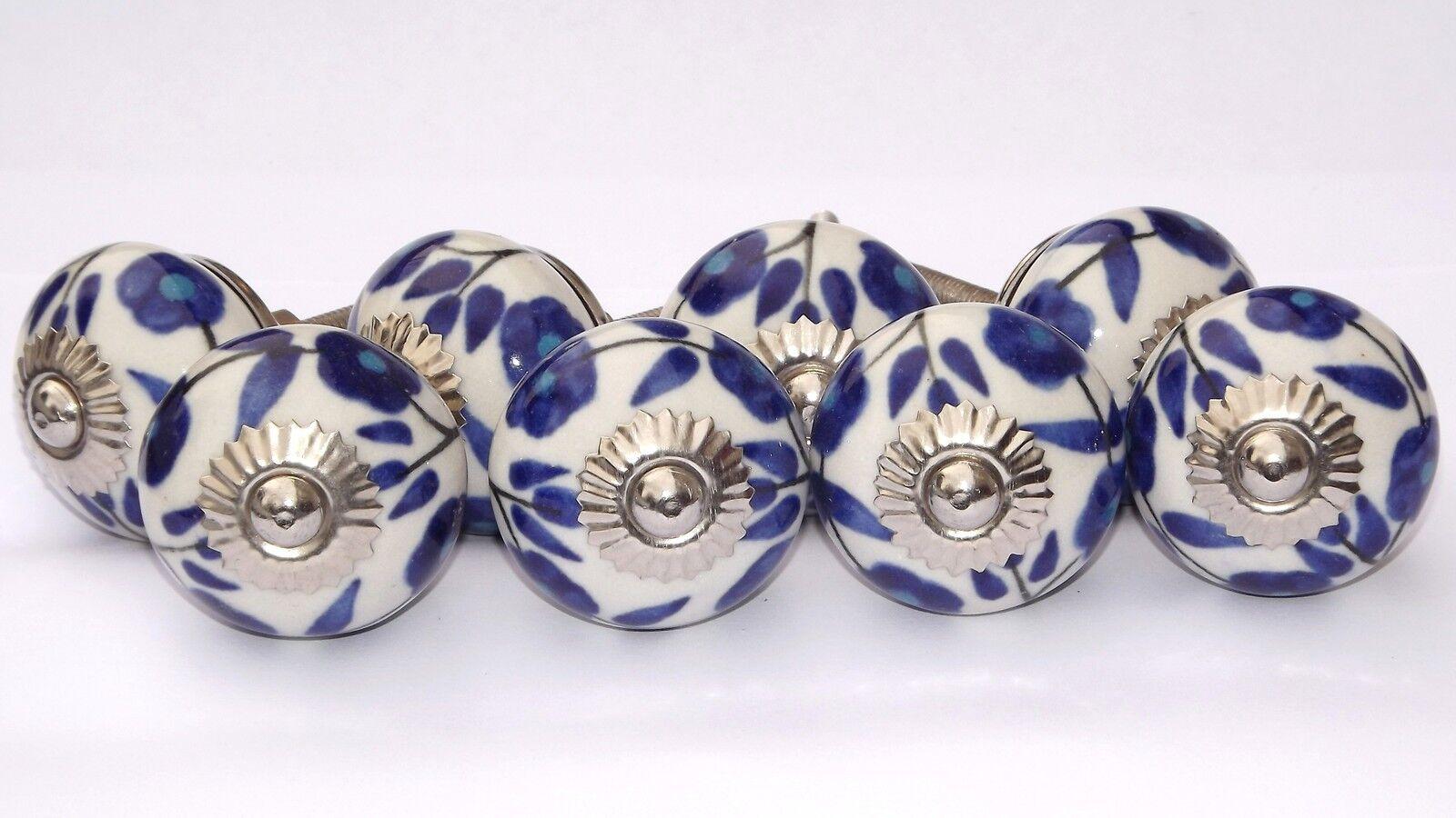 Keramik zieht der Knöpfe Knöpfe Knöpfe weiß rund mit Licht & dunkelblau Blaumen (chrom) x 8 | Exquisite (mittlere) Verarbeitung  68bfda