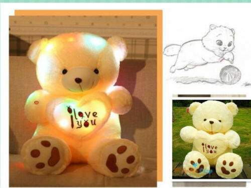 50cm Night Light Big Teddy Bear Love Plush Soft Doll Toys Birthday Gift Pillow A