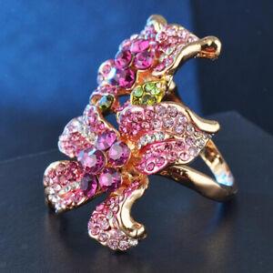 Mode-Frauen-Schmuck-Kristall-Hochzeit-Verlobungsfeier-Ring-Groesse-6-9