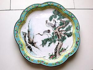 Beautiful-Antique-Chinese-Canton-Femille-Rose-Enamel-On-Brass-Three-Stork-Birds