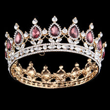 2'' Teardrop Tiaras Bridal Queen Gem Zircon Crown Diadem Headband Prom Headpiece