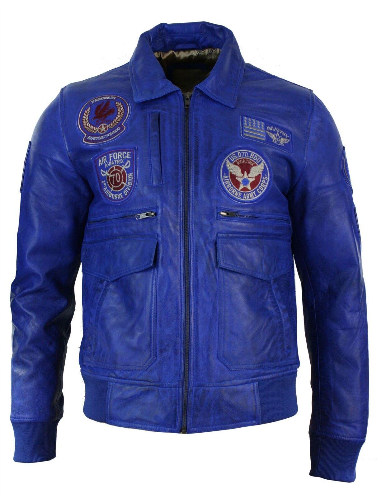 Veste homme aviateur cuir véritable avec badges bomber couleur bleu roi