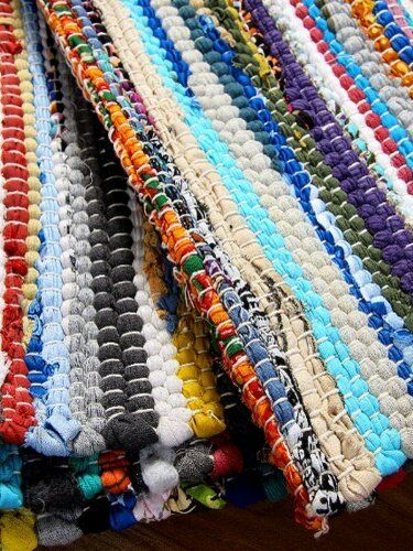 Fair Trade Rag Rugs Recycled Cotton Handmade Multi Colour 100% Cotton Handmade