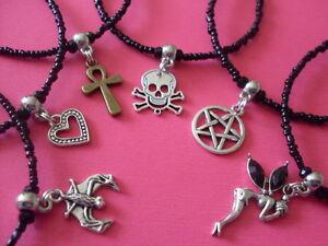 Black-bead-anklet-pentagram-bat-fairy-heart-skull-cross-26cms-tibetan-silver