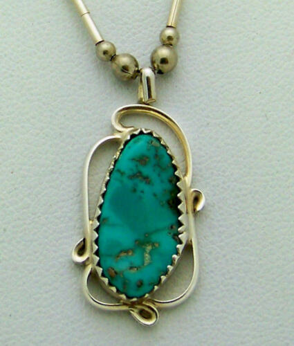 LOVELY SOUTHWESTERN HANDCRAFTED TURQUOISE STERLING SILVER PENDANT NECKLACE, 16
