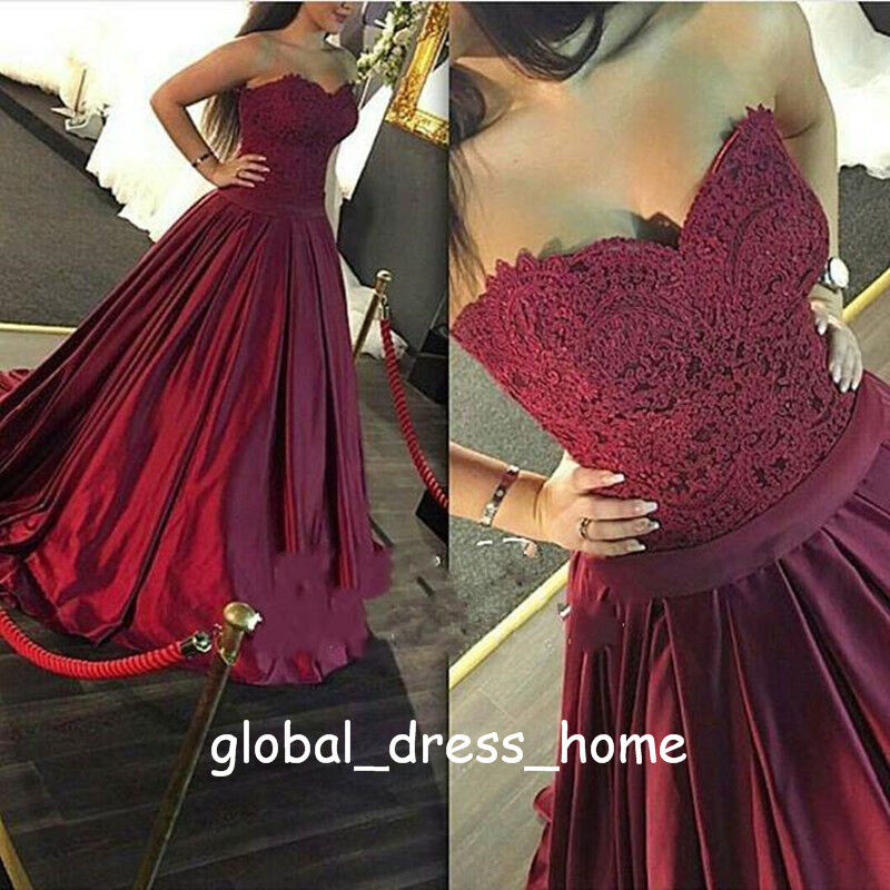 Vintage Burgundy Satin A Line Prom Formal Gowns Sweet 15 16 Quinceanera Dresses