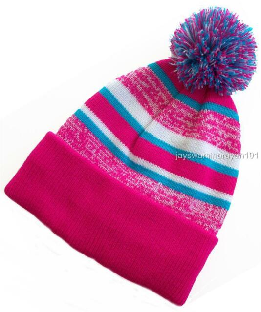 Women s Cuffed Beanie Lined Knit Hat With Pom-pom Hot Pink 12