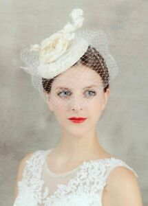 Elegant Lady Flower Veil Hair Clip Top Hat Fascinator Wedding Party ... 2141276ac53
