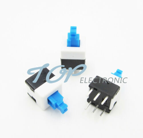 100pcs 8X8mm Cap Self-locking Type Square Blue Button Switch Control
