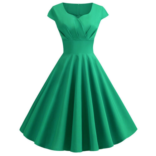 Damen Rockabilly Ballkleid Brautjungfernkleid Hepburn Petticoat Party Abendkleid