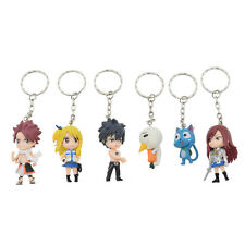 6 Pcs Anime Keychain Fairy Tail Natsu Happy Lucy Gray Erza Plue Figure Key Ring