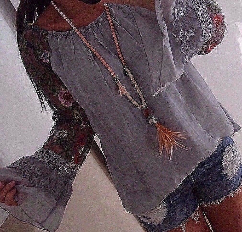 Blause M L 42 Neu Blogger Tunika Ibiza  Shirt Spitze Musthave Blaumen Grau 40