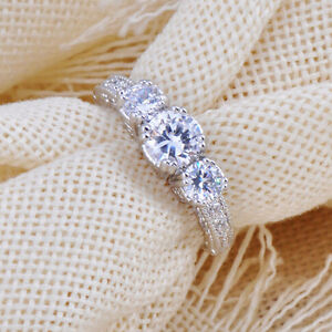 Size-6-9-White-Sapphire-Silver-Wedding-Band-Ring-10KT-White-Gold-Filled-Jewelry