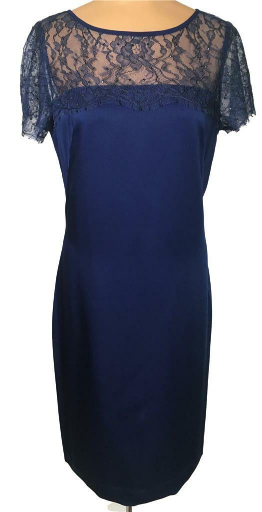 NWT ST. JOHN Knits African purple Luxe Satin Crepe & Lace Dress sz 8  1195