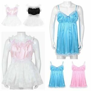 unisex sissy french maid dress lingerie mens lace satin