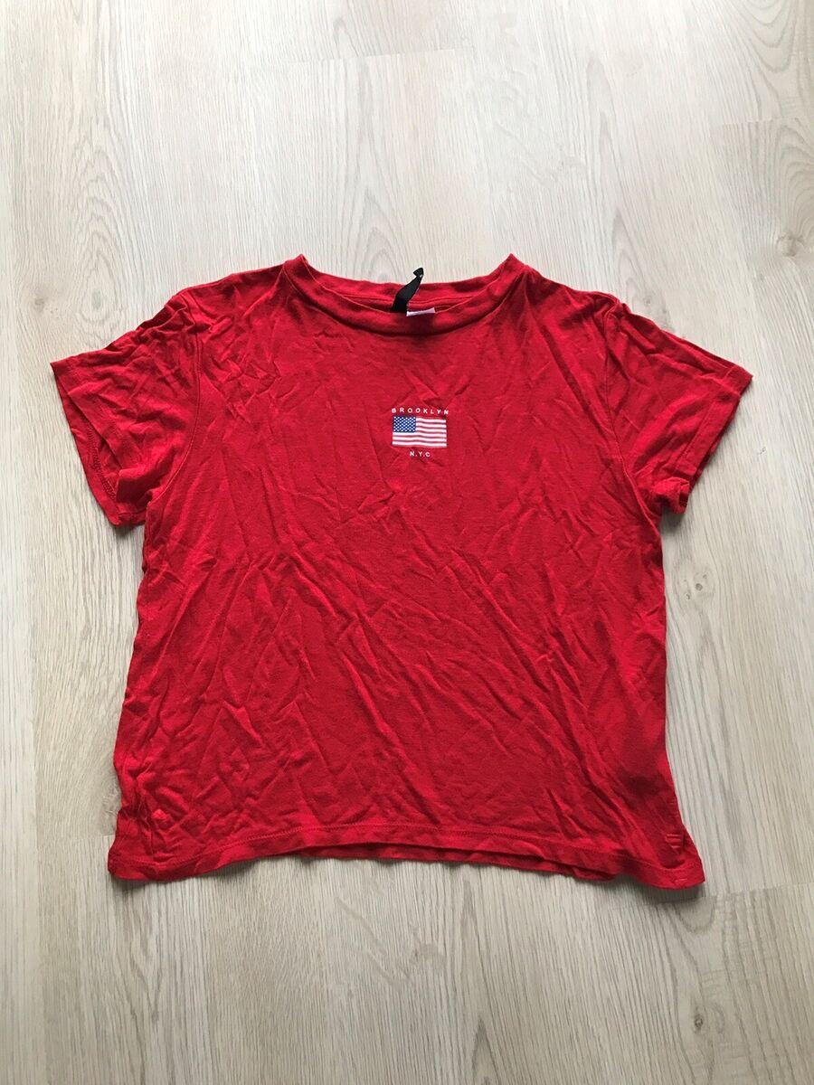 T shirt, H&M, str. 32, Rød, God men brugt, Rød kort t shi