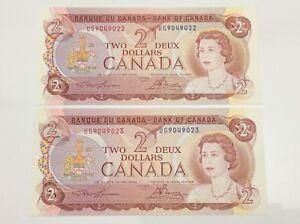 1974-Canada-2-Two-Dollar-UG-Prefix-2-Consecutive-Uncirculated-Banknote-E983