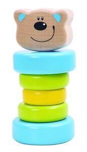 Tooky Toys Enfants Bois Ours Bébé Hochet Ensemble de Jeux Âge 6m+