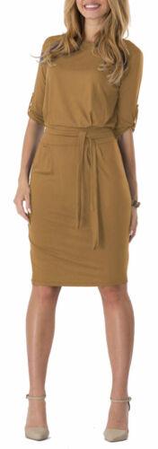 Nouveau Short Shift Robe avec ceinture col bateau à manches 3//4 Tunique Femmes Midi Robe