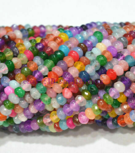 "5x8mm Naturel Facette Multicolore teint Emeraude Rondelles Gems Loose Beads 15/"""