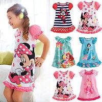 New Kids Girls Princess Minnie Nighty Pajamas Dress Nightwear Party Cartoon 2-5Y