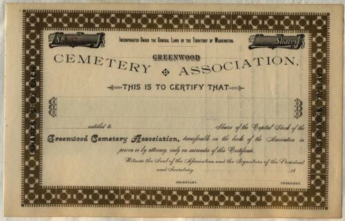 Greenwood Cemetery Association Stock Certificate Washington