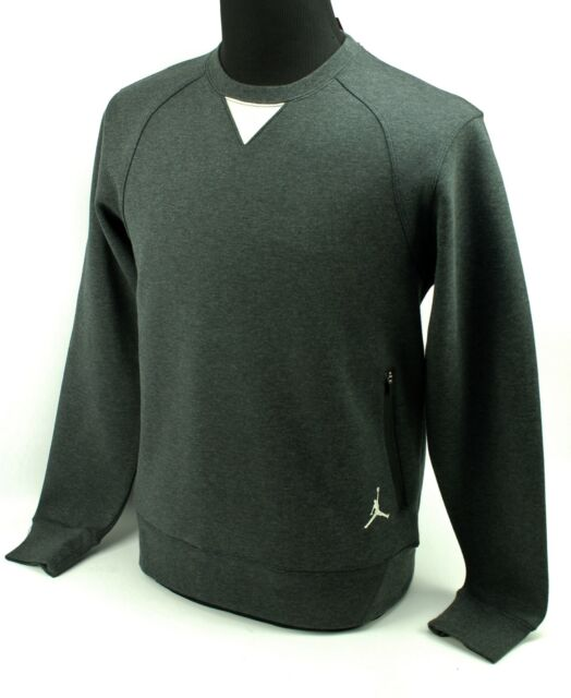 50% ceny całkowicie stylowy 50% ceny Nike Air Jordan Crewneck Cotton Sweatshirt Tech Pockets Black Heather Men  Large