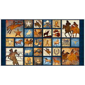 """23.5/"""" X 44/"""" Panel Southwestern Horses Ranch Mustang Sunset Cotton Fabric D569.55"""