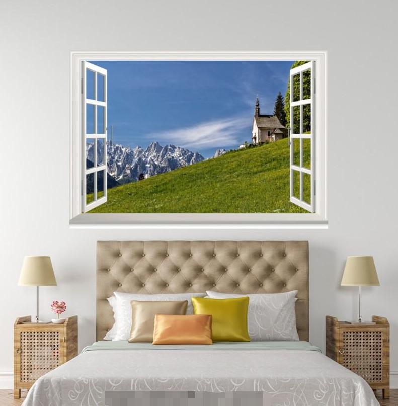 3D Hill Grün Lawn 318 Open Windows WallPaper Wandbilder Wall Print AJ Jenny