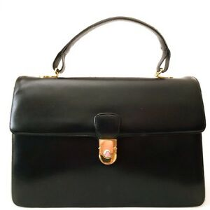 3abee6b72875 BALLY KELLY STYLE TOP QUALITY CALF LEATHER HANDBAG BLACK MADE IN ...