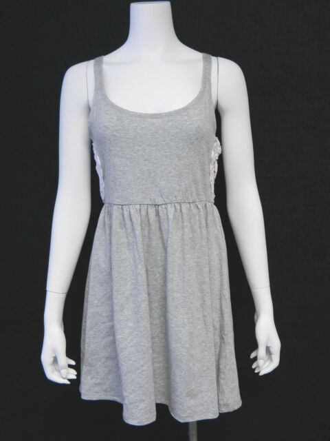 Miken Medium Solid Heather Gray Scoop Neck Tank Swimsuit Cover-Up M NWT