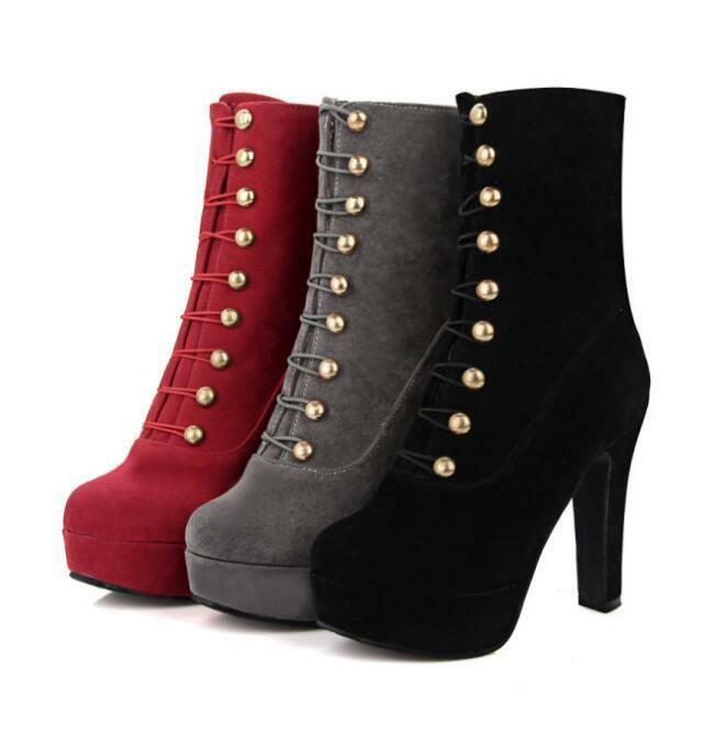 Faux Suede Platform Block Heels Lace Up Women Ankle Boots Knight shoes Plus Size