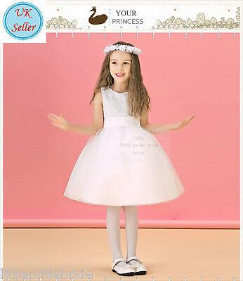 Selbstbewusst, Befangen, Gehemmt, Unsicher, Verlegen A-line Ivory Lace Tulle Flower Girl Party Wedding Bridesmaid Dress Age 1-10