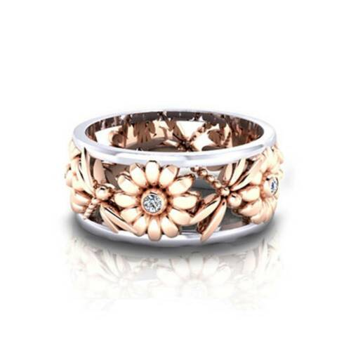 Exquisite Silver Floral Ring Flower Gold Sunflower Jewelry Party Rings Bridal