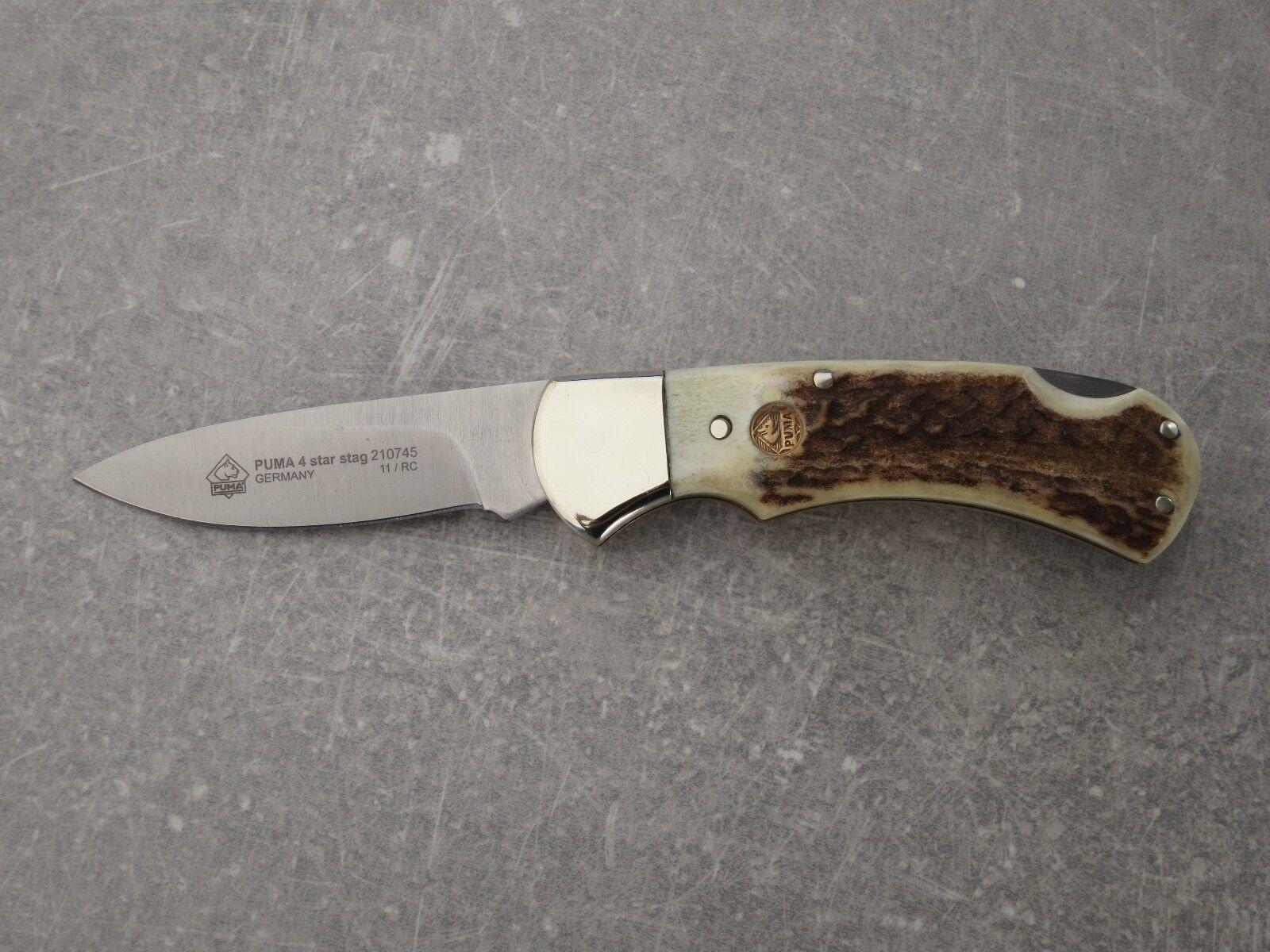 Puma 4 Star Stag, couteau de poche, Hirschhorn, sans NEUF dans dans NEUF sa  boîte d43386 7974dcfbedb