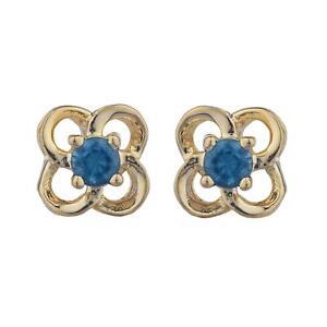 Details About 14kt Gold London Blue Topaz Love Knot Stud Earrings