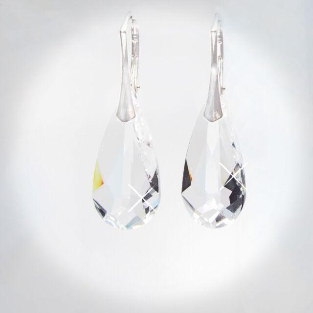 Damen Ohrringe 925 Sterling Silber Swarovski Kristalle 24 mm Hänger Klar Weiß