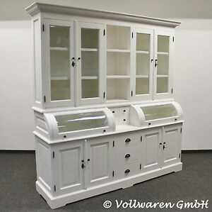 vintage landhaus buffet britagne 2m handpainted hochglanz weiss schrank vitrine ebay. Black Bedroom Furniture Sets. Home Design Ideas