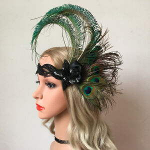 Image is loading Peacock-Feather-Headband-Fascinator -1920s-Race-Derby-Cocktail- 3100d144df3