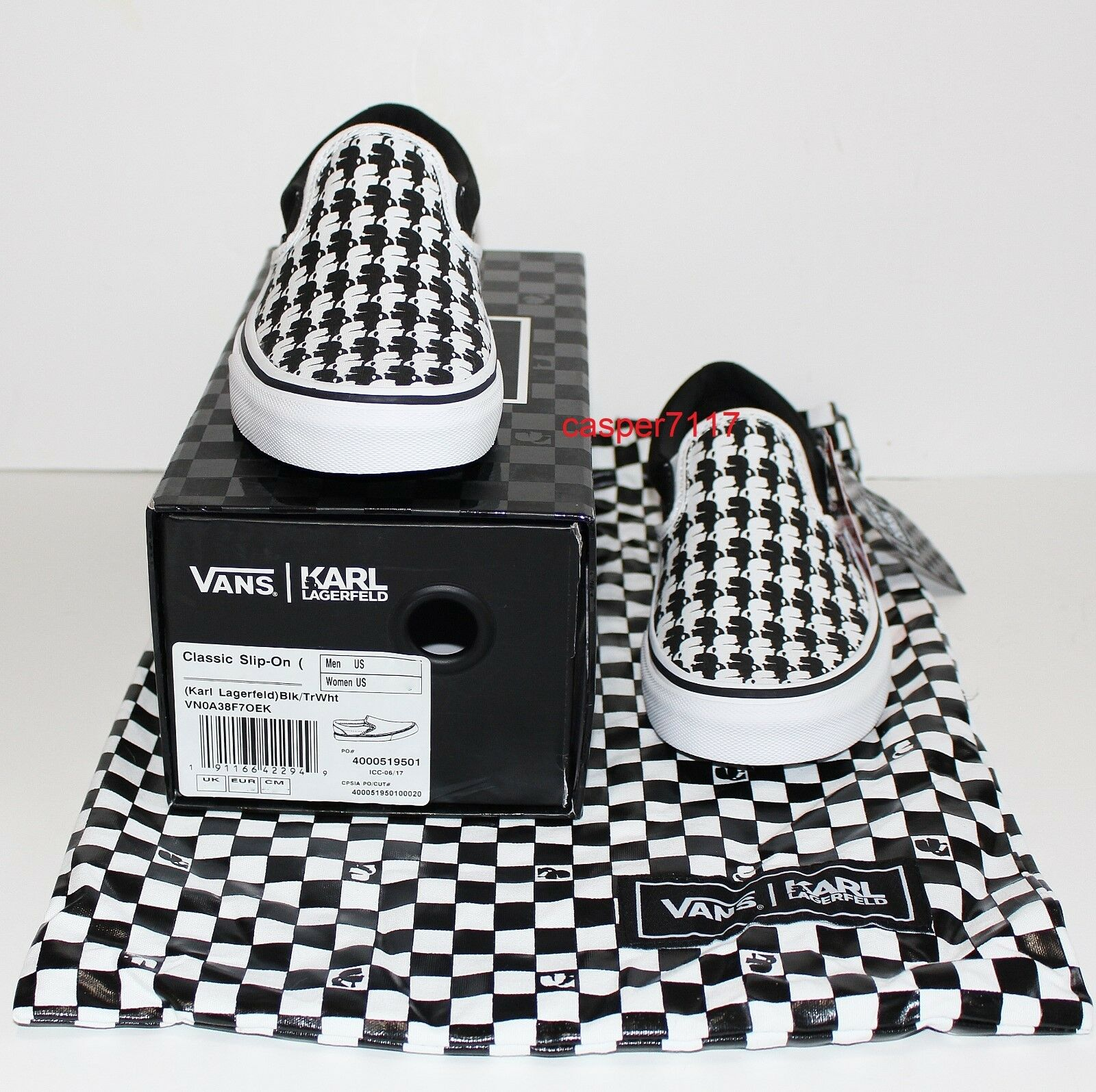 Vans X X X Karl Lagerfeld Classic Slip On Black True White Monogram Women's Size 8.5 2f3d76