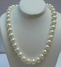 """Real 14K Solid Gold Clasp 9-10MM White Akoya Pearl Necklace 18"""" AA"""