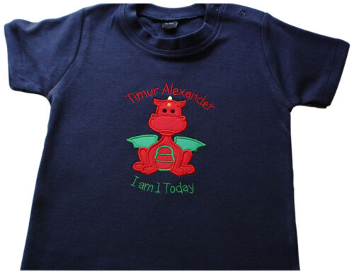 Cute Personalised Boys Red Dragon Applique Embroidered T-Shirt Any Text Birthday